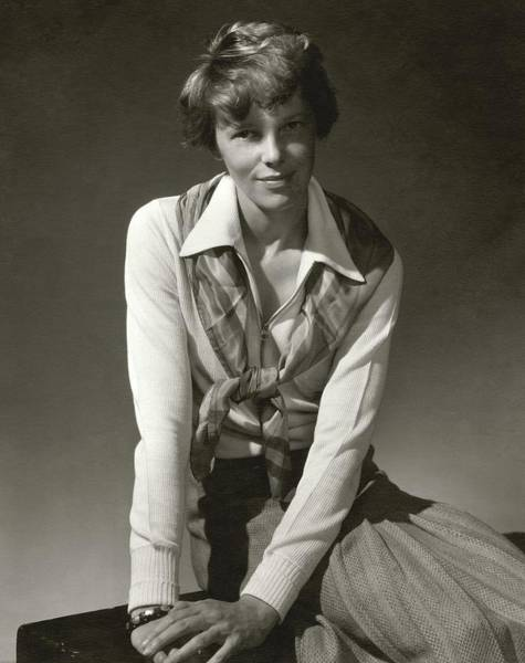 November 1st Photograph - Amelia Earhart Wearing A Scarf by Edward Steichen