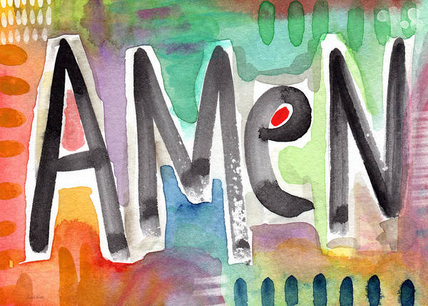 Family Room Mixed Media - Amen Greeting Card by Linda Woods