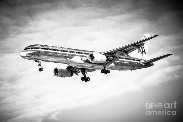 Editorial Photograph - Amercian Airlines 757 Airplane In Black And White by Paul Velgos