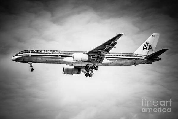 Editorial Photograph - Amercian Airlines Airplane In Black And White by Paul Velgos