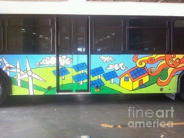 Recycling Painting - Ameren Missouri And Missouri Botanical Garden Metro Bus Curbside Detail by Genevieve Esson