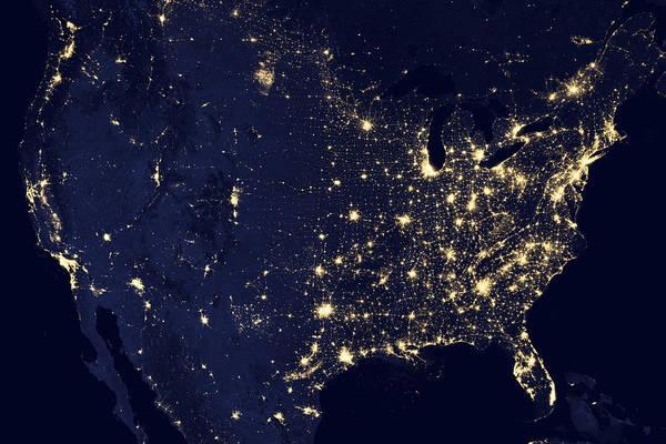 Wall Art - Photograph - America At Night by Adam Romanowicz