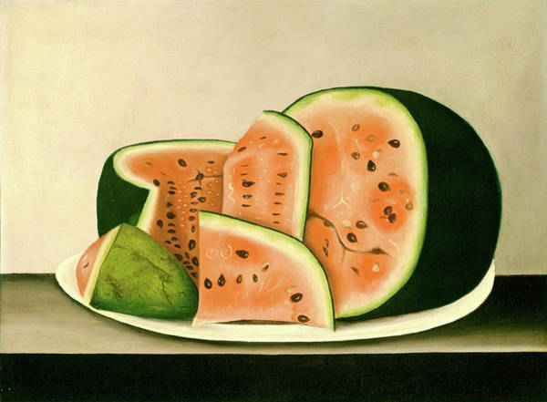 Wall Art - Painting - American 19th Century, Watermelon On A Plate by Litz Collection