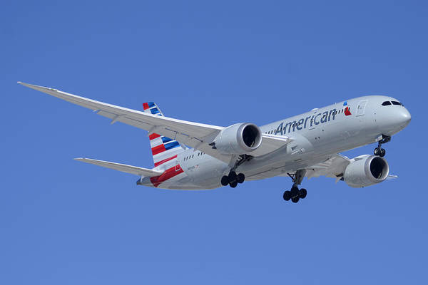 Wall Art - Photograph - American American Airlines First Boeing 787-823 N800an Taking Off Phoenix Sky Harbor March 6 2015  by Brian Lockett