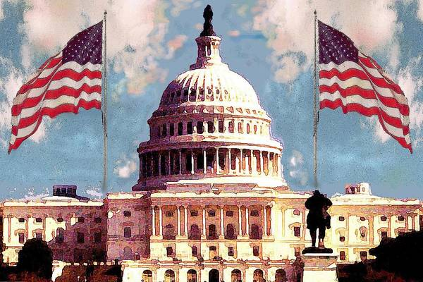 Painting - Washington Capitol With American Flags - Fine Art Illustration by Peter Potter