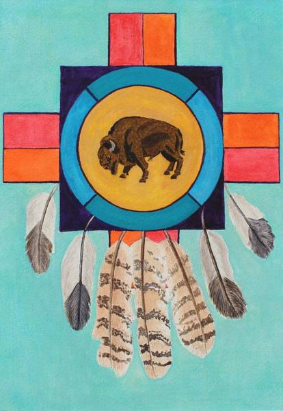 Painting - American Bison Dreamcatcher by Vera  Smith