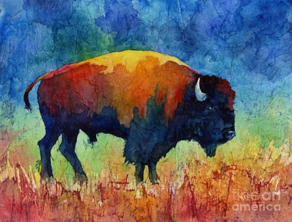 Batik Wall Art - Painting - American Buffalo II by Hailey E Herrera