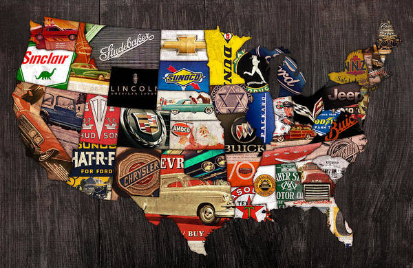 American Car Mixed Media - American Car State Map An Automotive History Love Affair Usa by Design Turnpike