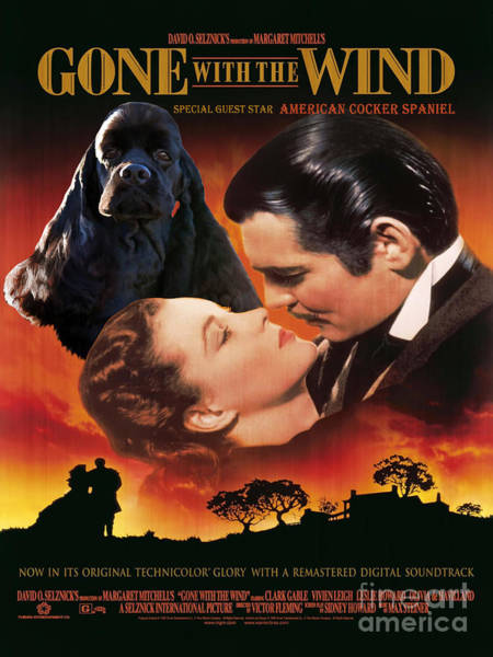Cocker Spaniel Painting - American Cocker Spaniel  Art - Gone With The Wind Movie Poster by Sandra Sij
