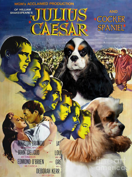 Cocker Spaniel Painting - American Cocker Spaniel Art - Julius Caesar Movie Poster by Sandra Sij