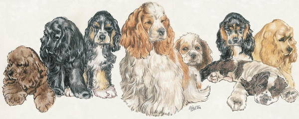 Wall Art - Mixed Media - American Cocker Spaniel Puppies by Barbara Keith