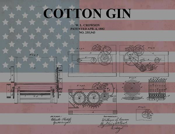 Wall Art - Mixed Media - American Cotton Gin Patent by Dan Sproul