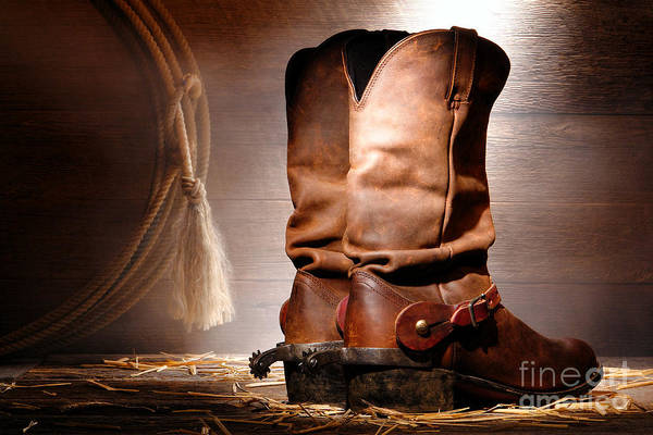 Diffuse Photograph - American Cowboy Boots by Olivier Le Queinec