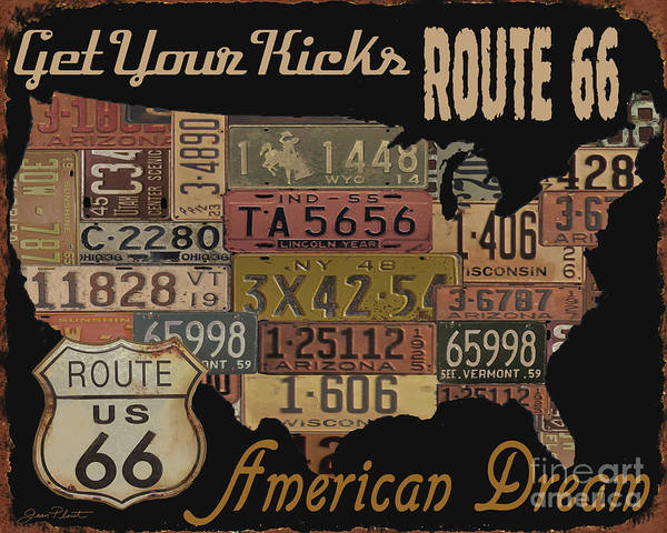 Rustic Digital Art - American Dream-route 66 by Jean Plout