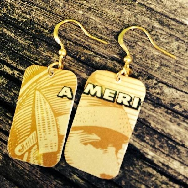 Landmark Wall Art - Photograph - American Express Ooak Earrings Designed by Marianna Mills