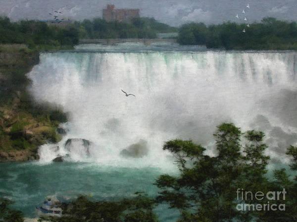 Horseshoe Digital Art - American Falls - Niagara by Lianne Schneider