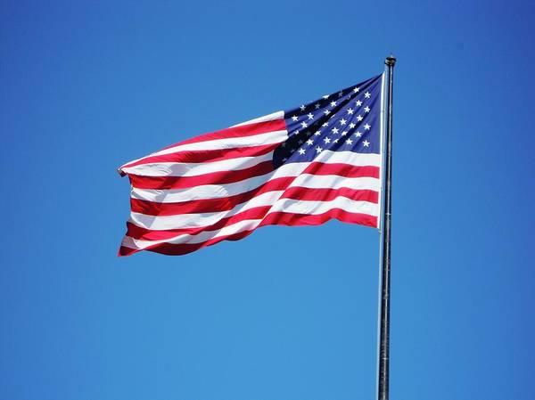 Usa Flag Photograph - American Flag Against Clear Blue Sky by Valerio Gualandi / Eyeem