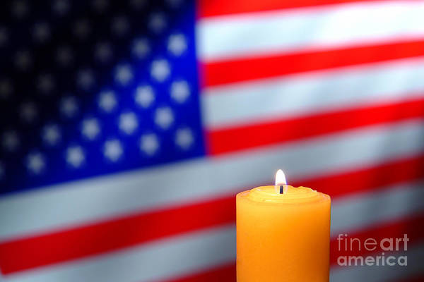 Commemorative Wall Art - Photograph - American Flag And Candle by Olivier Le Queinec