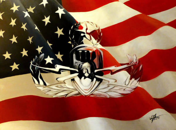 Lightening Painting - American Flag And Eod Badge by Michelle Iglesias