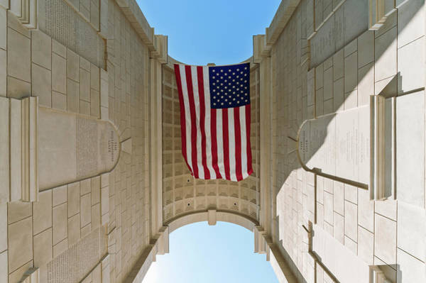 Atlantic Station Photograph - American Flag At The Millennium Gate by Panoramic Images
