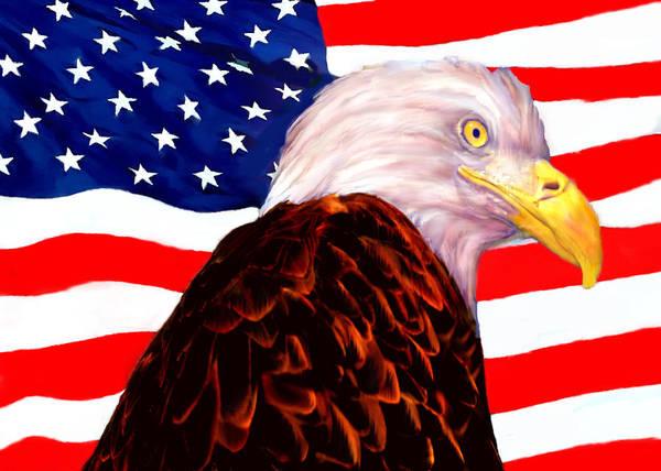 Digital Art - American Flag - Bald Eagle by Bob and Nadine Johnston