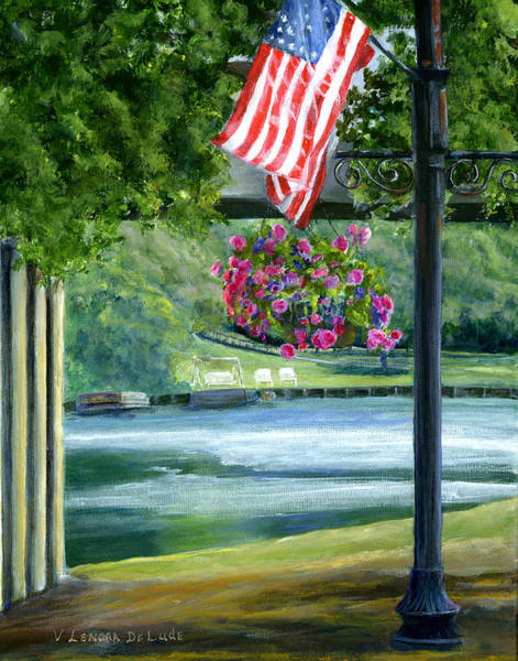 Painting - American Flag In Natchitoches Louisiana by Lenora  De Lude