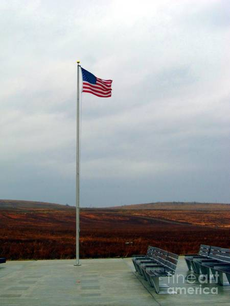 Somerset County Photograph - American Flag In The Breeze At Flight 93 Memorial by Matthew Peek