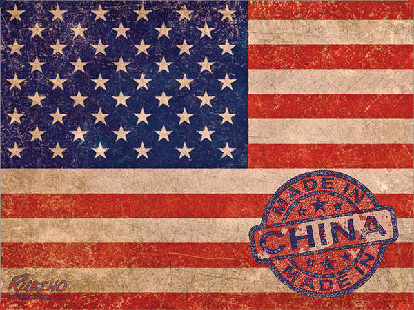 Painting - American Flag Made In China by Tony Rubino