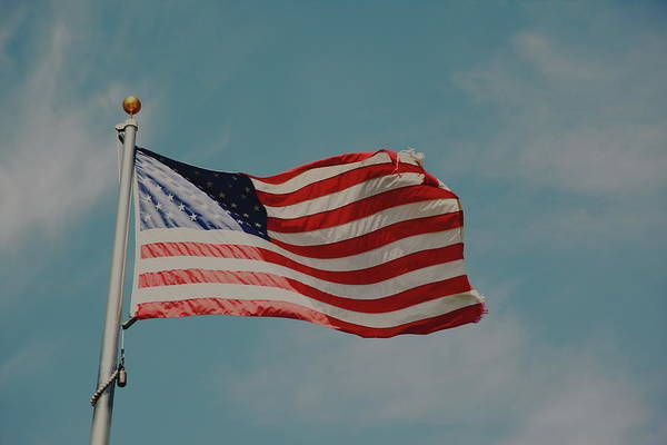 Usa Flag Photograph - American Flag On Blue Sky by D. Sharon Pruitt Pink Sherbet Photography