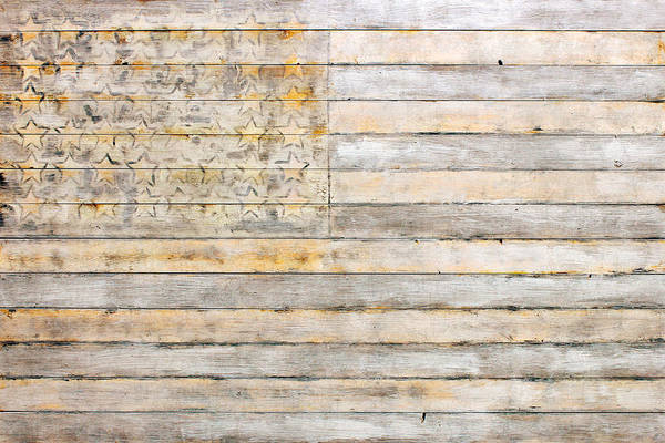 Distress Mixed Media - American Flag On Distressed Wood Beams White Yellow Gray And Brown Flag by Design Turnpike