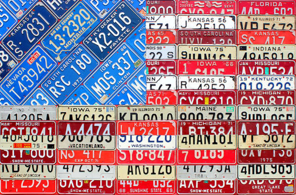 License Wall Art - Mixed Media - American Flag Recycled License Plate Art by Design Turnpike