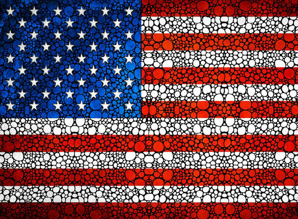 Air War Painting - American Flag - Usa Stone Rock'd Art United States Of America by Sharon Cummings