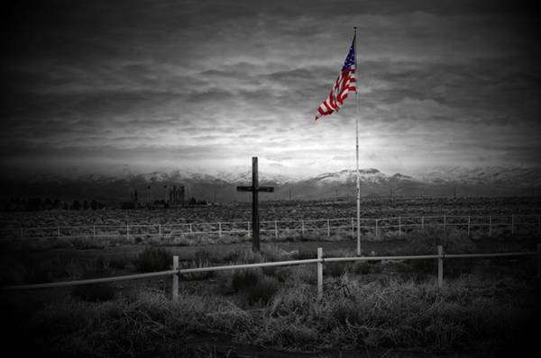 Us Marines Photograph - American Flag With Cross by Scott McGuire