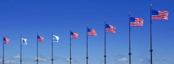 Capitalism Wall Art - Photograph - American Flags On Chicago's Famous Navy Pier by Christine Till