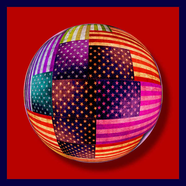 Painting - American Flags Orb by Tony Rubino