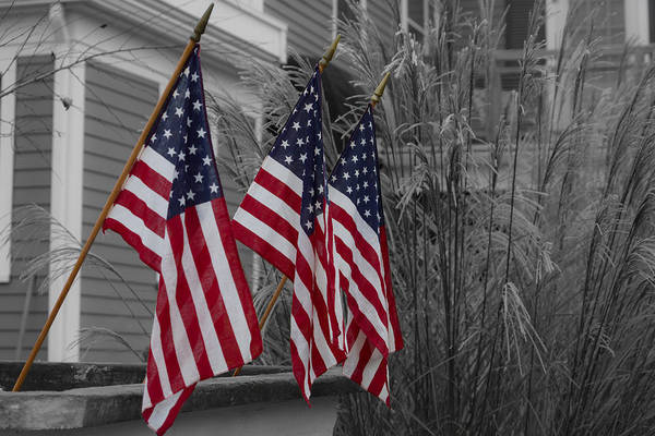 Photograph - American Flags - Selective Color by Kirkodd Photography Of New England