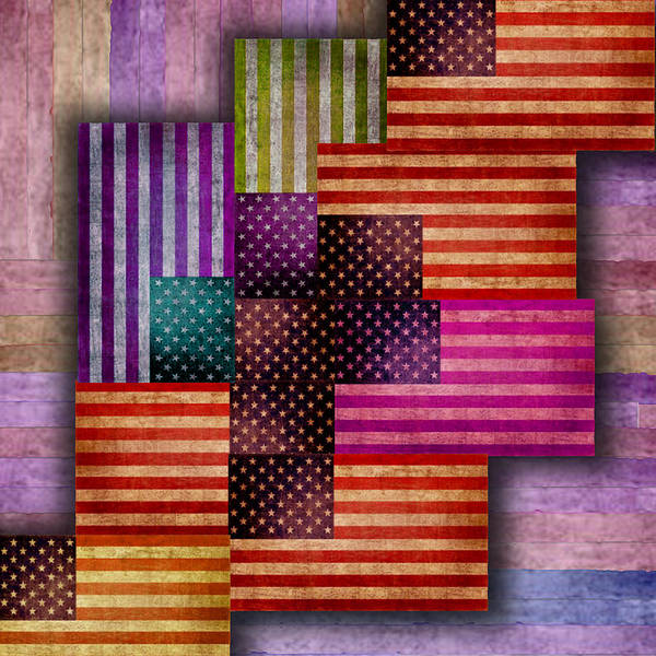 Painting - American Flags by Tony Rubino