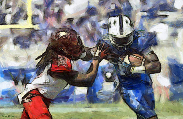 Drawing - American Football 1 Of 3 by Tyler Robbins