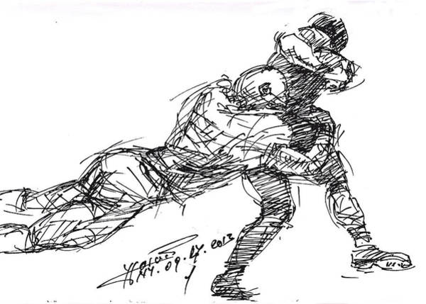 Wall Art - Drawing - American Football 2 by Ylli Haruni