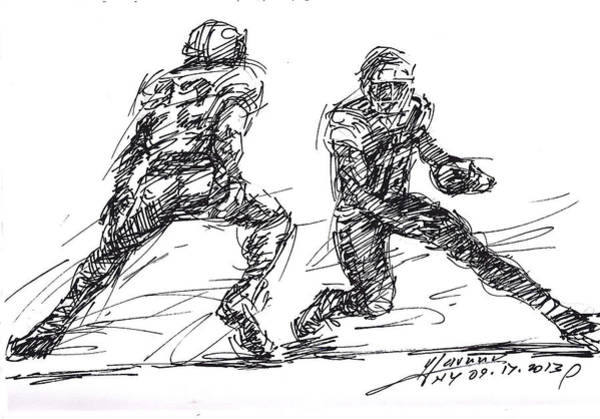 Wall Art - Drawing - American Football 3 by Ylli Haruni