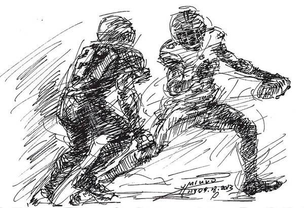 Games Wall Art - Drawing - American Football 4 by Ylli Haruni