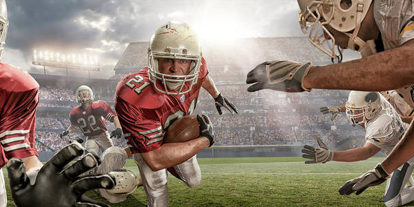 Football Helmet Photograph - American Football Action by Peepo