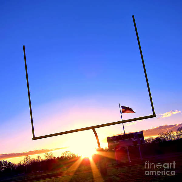 High School Photograph - American Football Goal Posts by Olivier Le Queinec