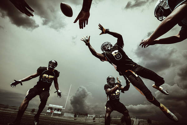 Football Helmet Photograph - American Football Match by Ferrantraite