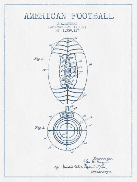 American Football Digital Art - American Football Patent Drawing From 1923 - Blue Ink by Aged Pixel