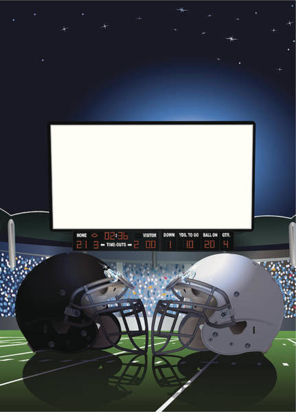 Football Helmet Digital Art - American Football Stadium Jumbotron by Keithbishop