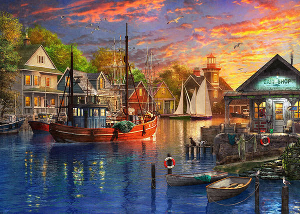 Wall Art - Painting - American Harbour Sunset by MGL Meiklejohn Graphics Licensing