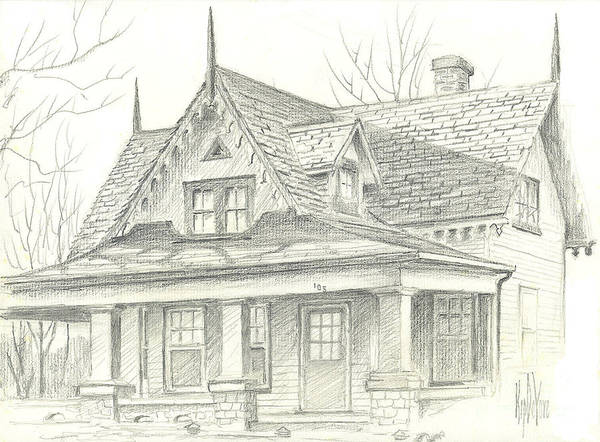 Drawing - American Home by Kip DeVore