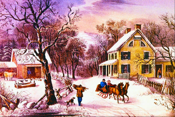 Barn Snow Digital Art - American Homestead Winter by Currier and Ives