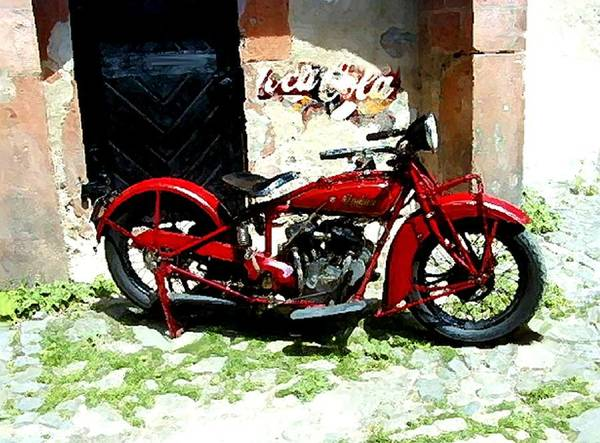 Painting - American Indian   Indian Motorcycle  by Iconic Images Art Gallery David Pucciarelli